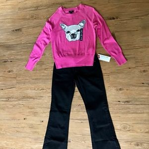 New GAP Ladies Pink Intarsia Bulldog Sweater M
